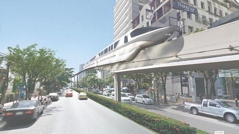 โครงการรถไฟฟ้าโมโนเรลสายสีเทา 1 (วัชรพล-ทองหล่อ) ที่วิ่งเข้าสู่ใจกลางเมืองทองหล่อ (สถานีทองหล่อ 10)