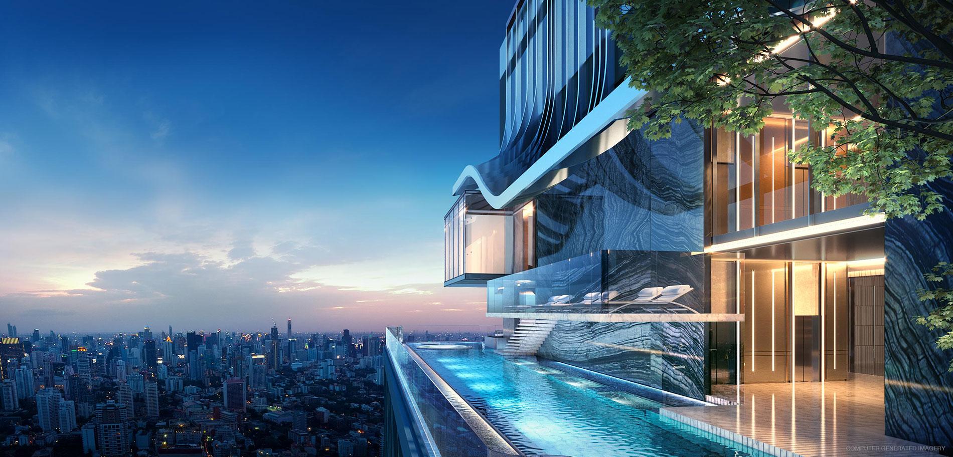 Building A: Crystal Box ออกแบบให้เป็นห้องกระจกยื่นออกจากตัวอาคาร ให้คุณได้รู้สึกราวกับว่ายืนอยู่บนผิวน้ำ ท่ามกลางเมฆหมอกที่ลอยอยู่รอบตัว