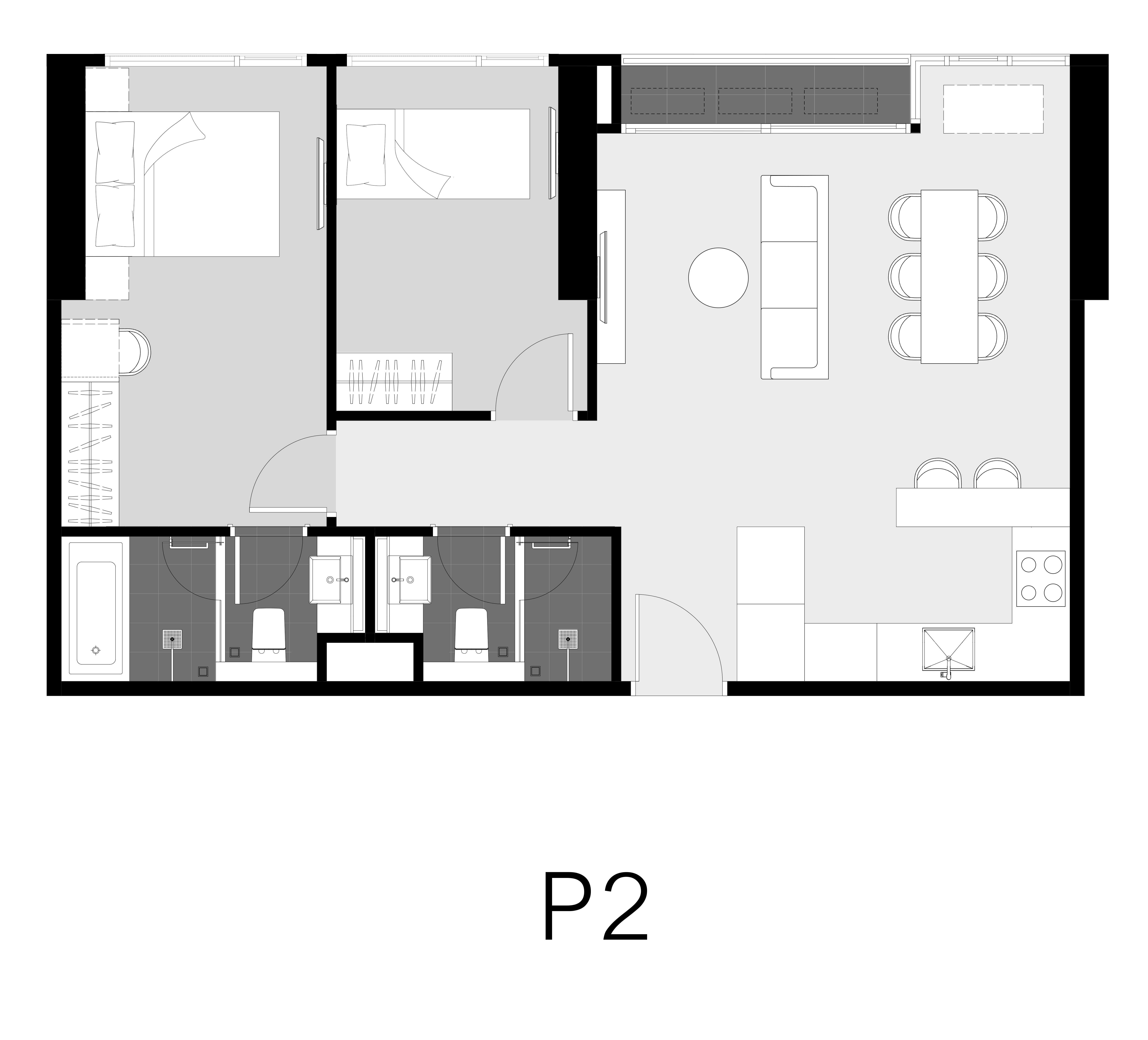 Unit Layout ห้อง Penthouse (65ตร.ม.) @ Park Origin Thonglor