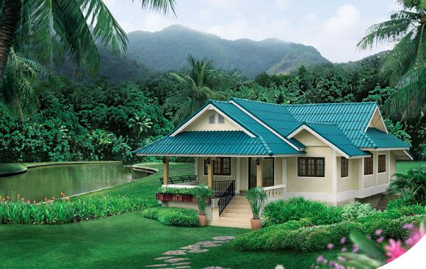 บ้านสีเขียวอ่อนสไตล์ธรรมชาติ